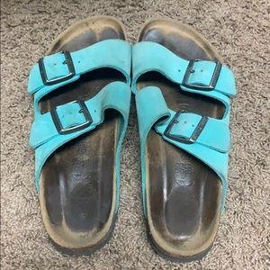 Turquoise Birkenstock Arizona sandals